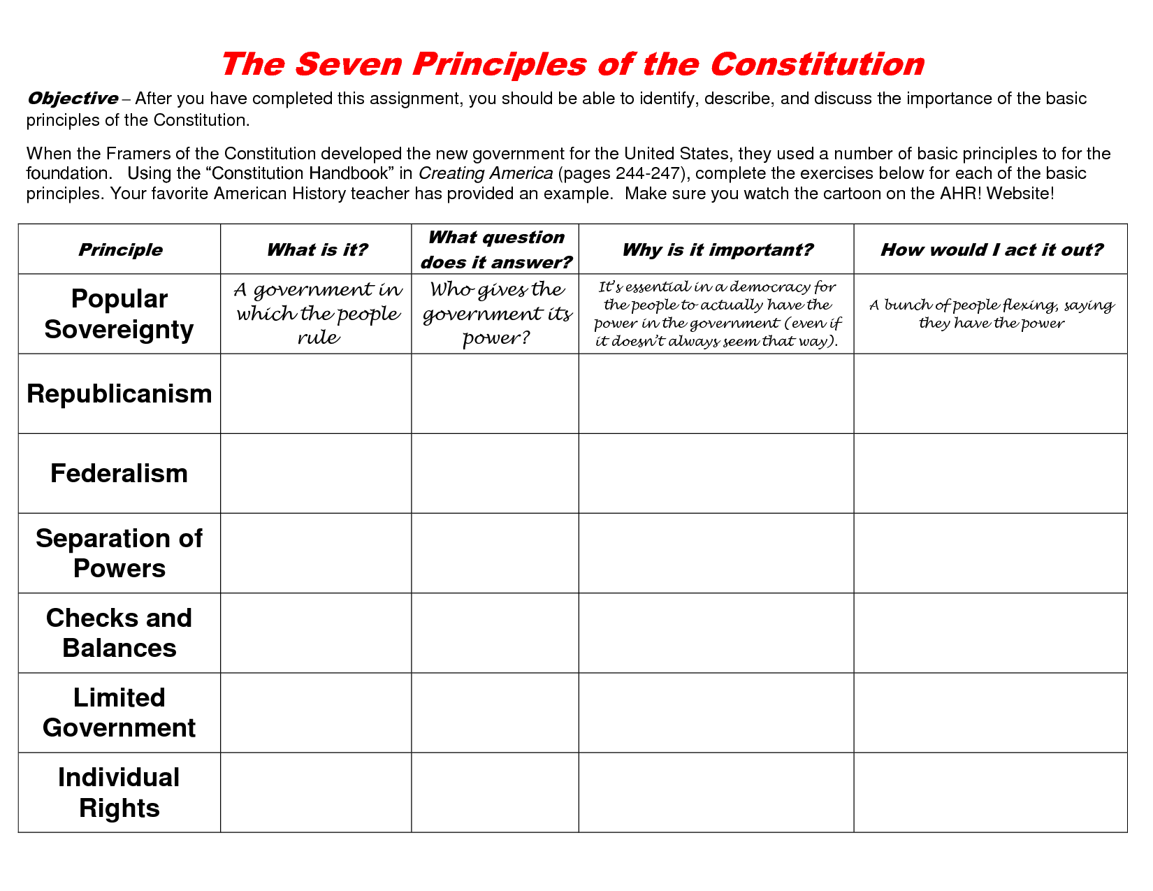 Constitutional Principles scope of work template