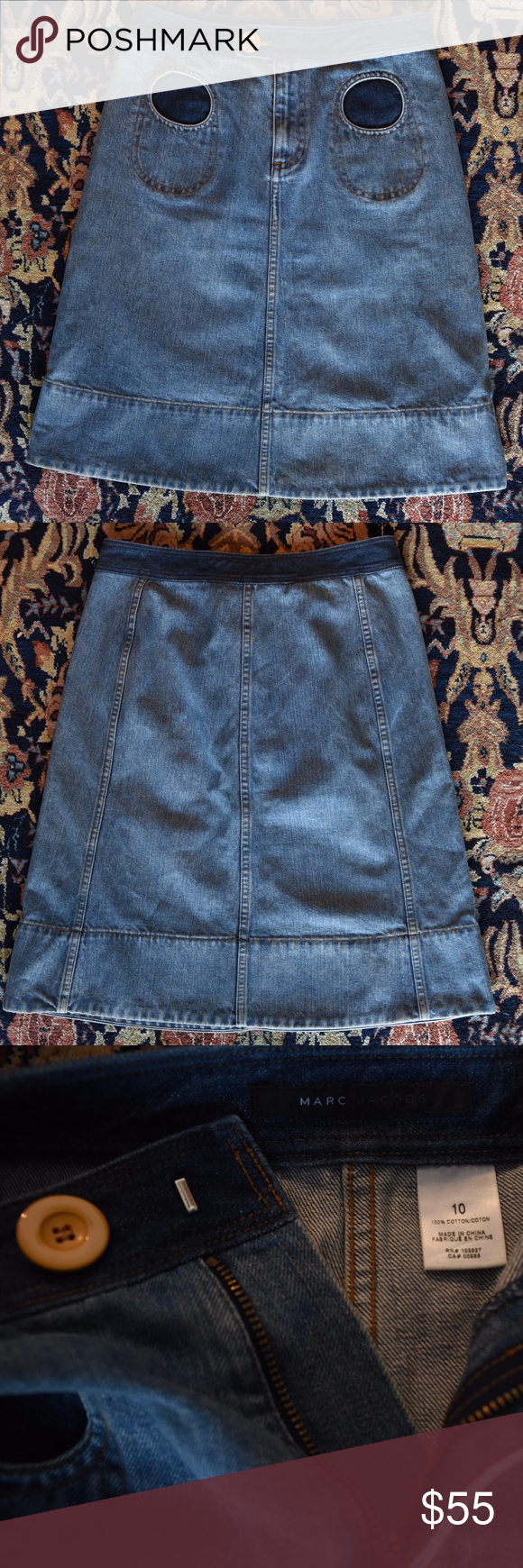 68cde08e1 SALE: MARC JACOBS Jean skirt with Circle Pockets MARC JACOBS 100% Cotton Jean  Skirt with Funky Circle Cutout Pockets [Size 10] Zipper crotch with Orange  ...