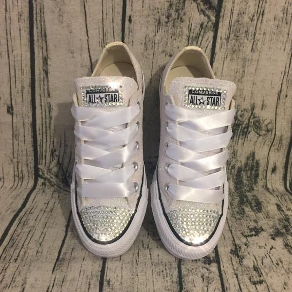 7ec80d192e6 Sparkly White or Ivory Glitter bling Converse All Stars Bride Wedding Shoes  Sneakers