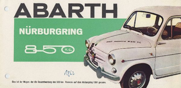 Nurburgring Edition Of The 1963 Fiat Abarth 850 Tc Alte Werbung