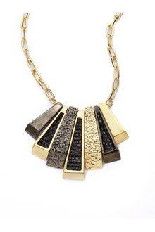 Kara Ross Deco Lizard Skin Stick Necklace in Black | Lyst