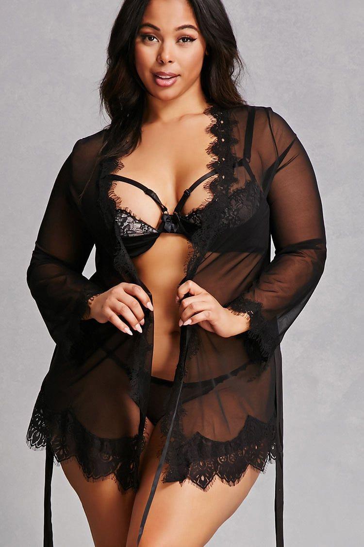 80ff9e5740415 Forever 21+ - A lingerie set by Oh La La Cheri™ featuring a sheer ...