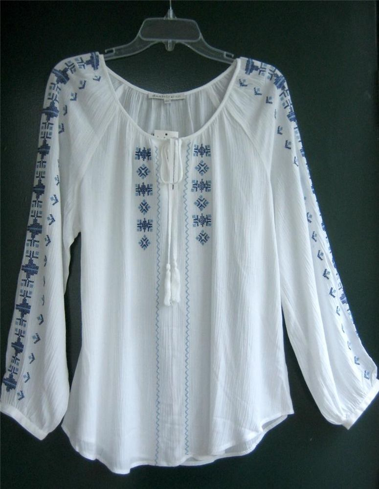 18e4fd5881f New White Vintage Blue Embroidered Peasant Blouse Boho Tunic Top Shirt ~  8/10/M