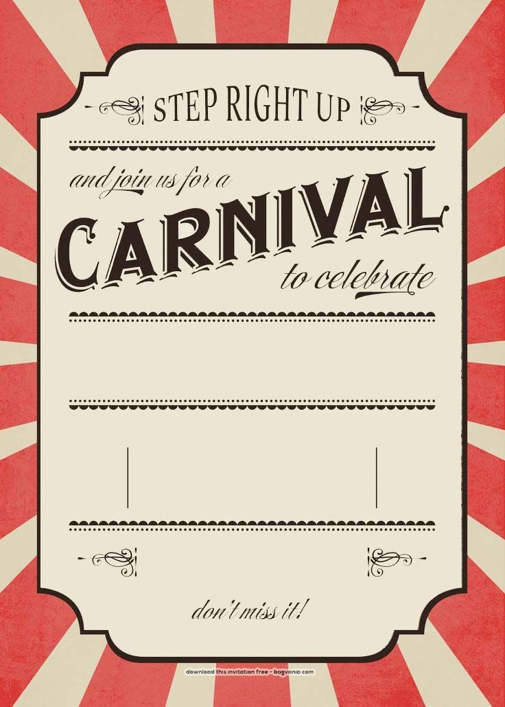 Download Now FREE Carnival Birthday Invitations | FREE Printable ...