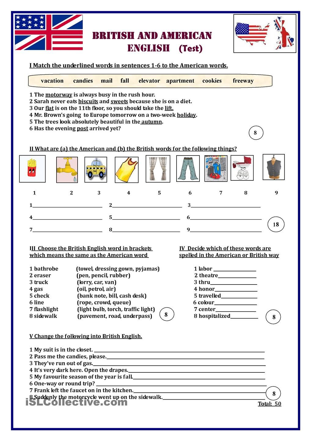 British and American English Test | Ireland lesson | Pinterest ...