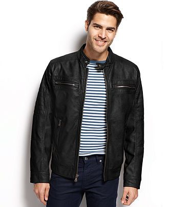 d5b6bc557861d Calvin Klein Faux Leather Moto Jacket - Coats   Jackets - Men - Macy s