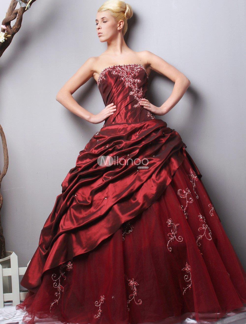 Gorgeous Burgundy Strapless Taffeta Evening Dress. We make keeping ...