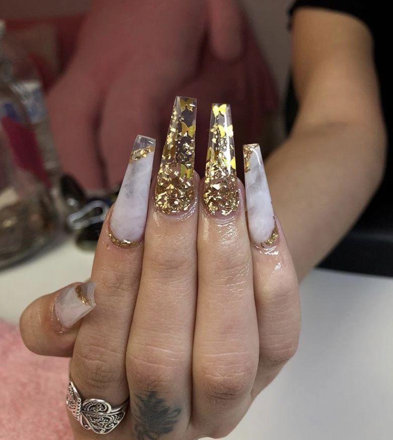 Bath and body #acrylic #nails gold acrylic nails, summer acrylic nails, acrylic…