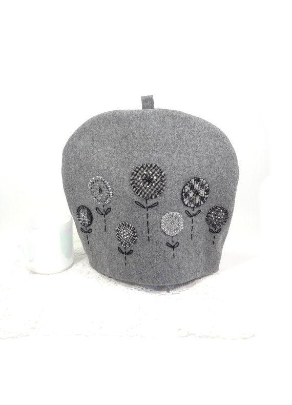 Wool tea cozy Grey garden teacosy Flower tea pot cover Embroidered ...
