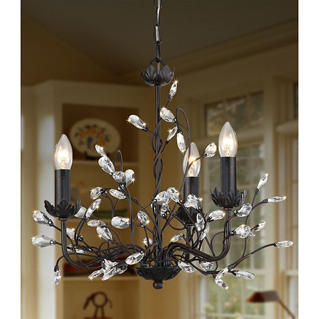 Iron and crystal 3 light chandelier overstock shopping great iron and crystal 3 light chandelier overstock shopping great deals on otis designs aloadofball Image collections