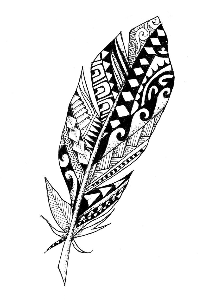 designer feather polynesian feather custom tattoo silhouettes pinterest tattoo design. Black Bedroom Furniture Sets. Home Design Ideas
