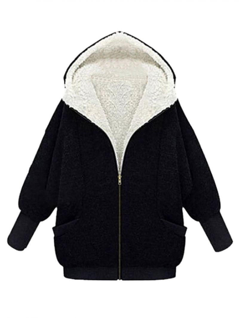 Buy Black Hooded Coat With Faux Fur Lined from abaday.com, FREE shipping Worldwide - Fashion Clothing, Latest Street Fashion At Abaday.com