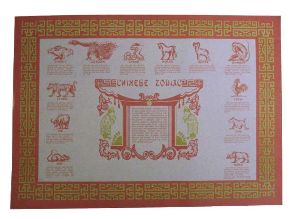 Amazon Com Chinese Zodiac Paper Placemats 50 Pieces Pp 02 Home Amp Kitchen Placemats Chinese Zodiac Zodiac