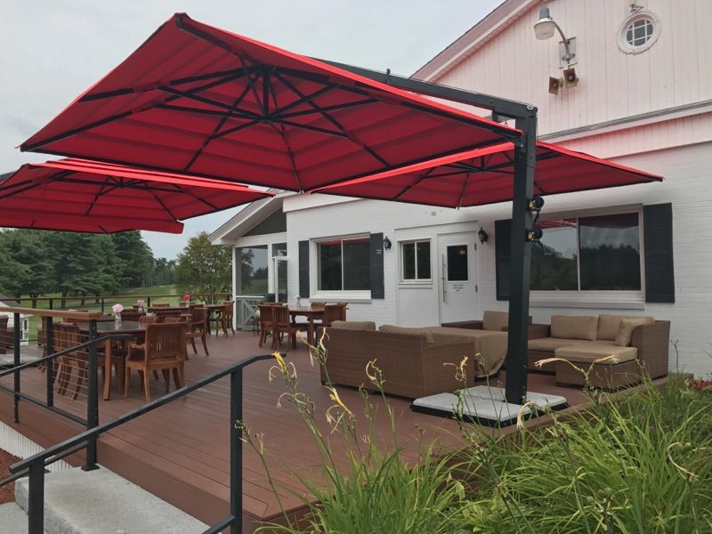 Double Offset Patio Umbrella By The Shade Experts Usa Offset Patio Umbrella Patio Shade Outdoor Patio Shades
