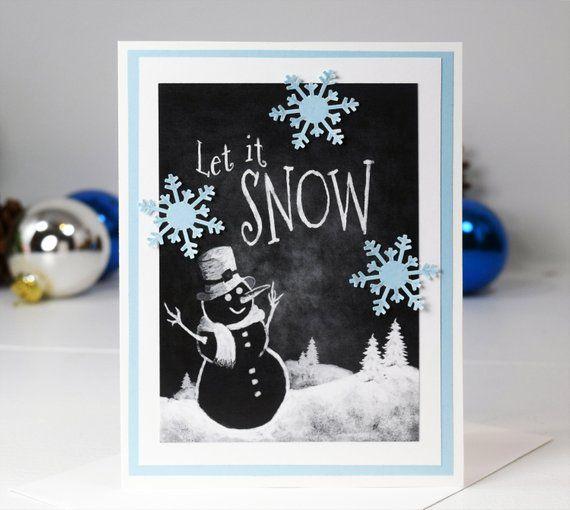 Diy Christmas Card Kit Set Of 4 Let It Snow Handmade Etsy Greeting Card Kits Diy Christmas Cards Card Kit