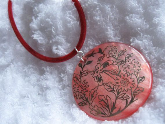 Large Red Color Mother of Pearl Shell Necklace by JetRavenBlack, $5.00
