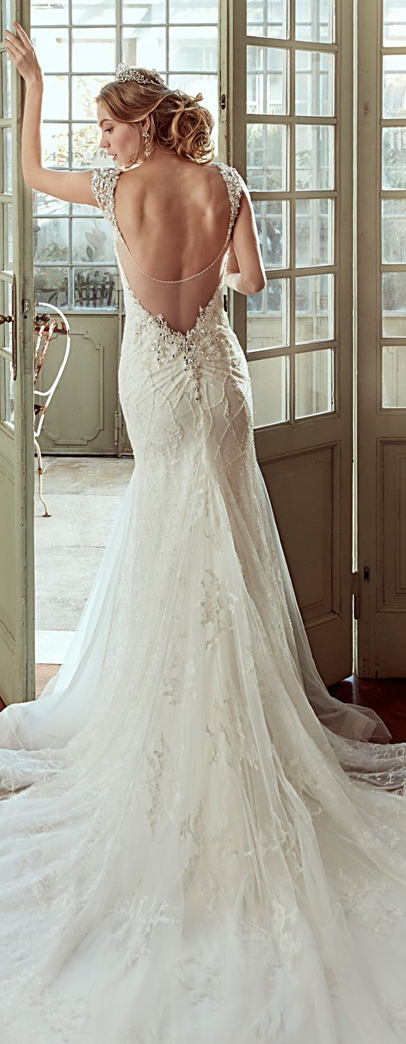 Nicole ivory mermaid gown in tulle with chantilly beading lace and