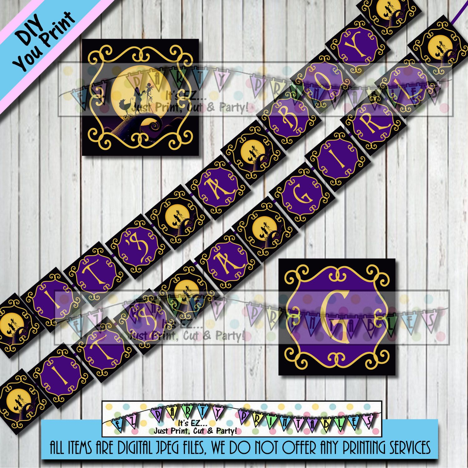 nightmare before christmas baby shower banner girl boy banner halloween birthday party other party supplies sold - Baby Halloween Birthday Party