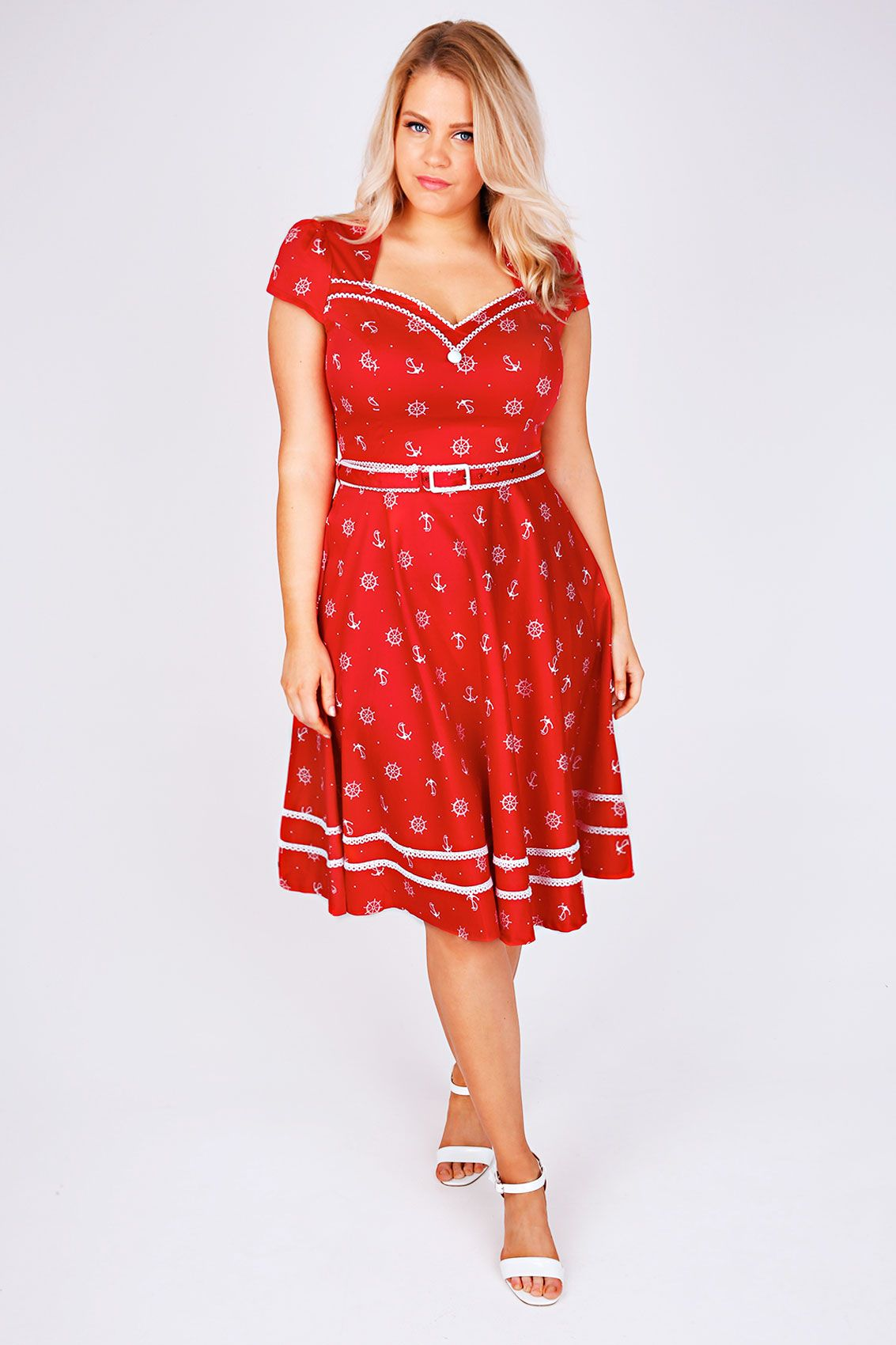 VOODOO VIXEN Red & White Sailor Print 50\'s Style Dress | Clothing ...