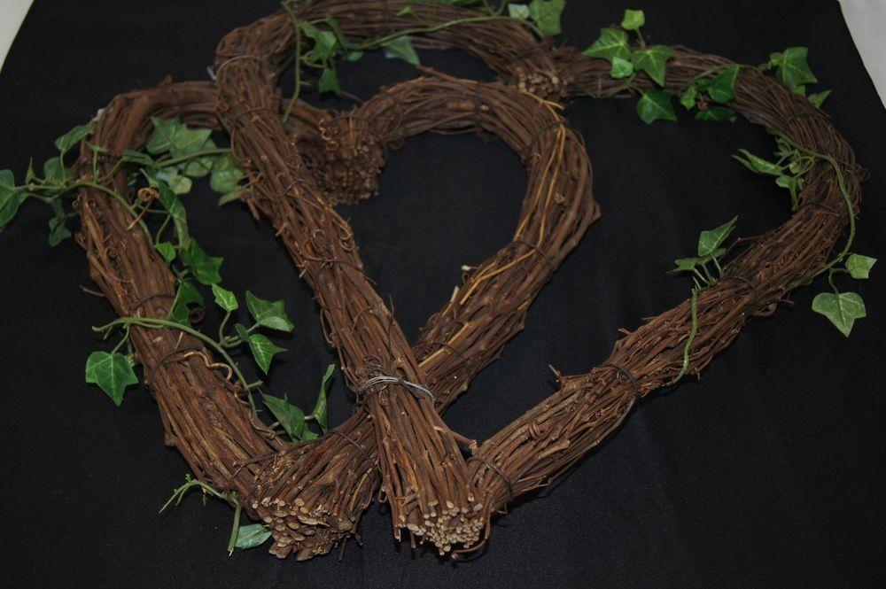 Dual Heart Shaped Twig Wreath With Vine