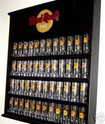 New Hard Rock Cafe Shooter Shot Glass Display Case Rack 02 22 2007 Glass Display Case Cafe Display Glass Cabinets Display