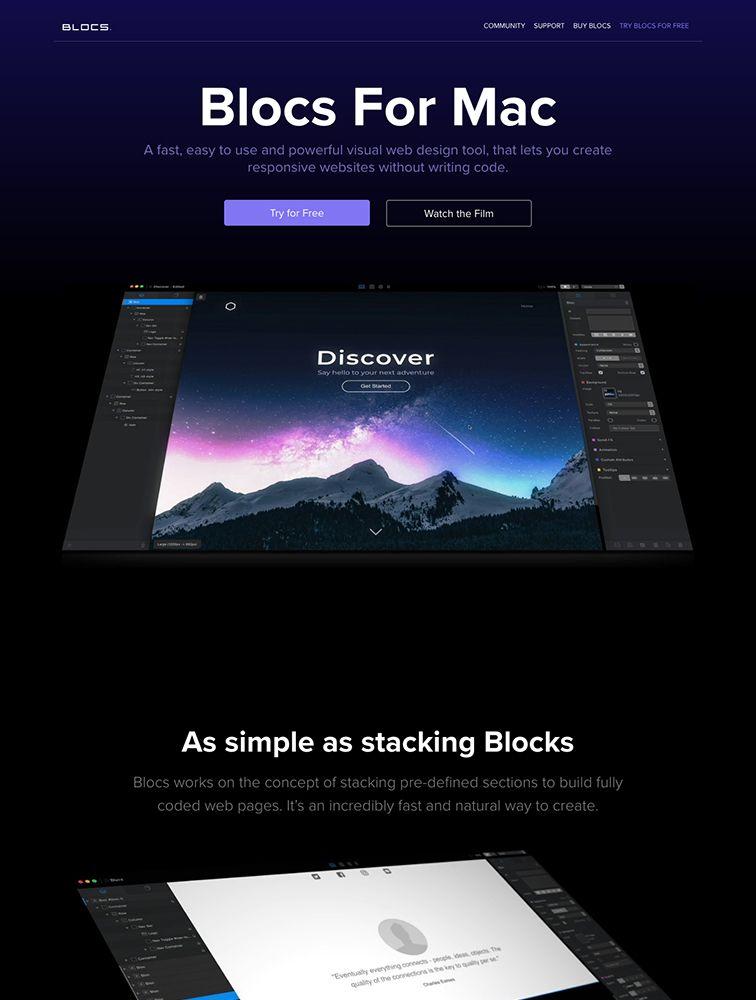 Blocs For Mac Landing Page Example Web Design Tools Landing Page Tool Design