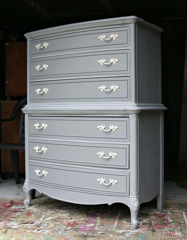 Repainted Furniture gray furniture with spray painted hardware | gray painted
