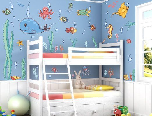 Fancy I love Wandtattoo WAS Wandsticker Kinderzimmer Unterwasserwelt Sticker Aufkleber Wandtattoo
