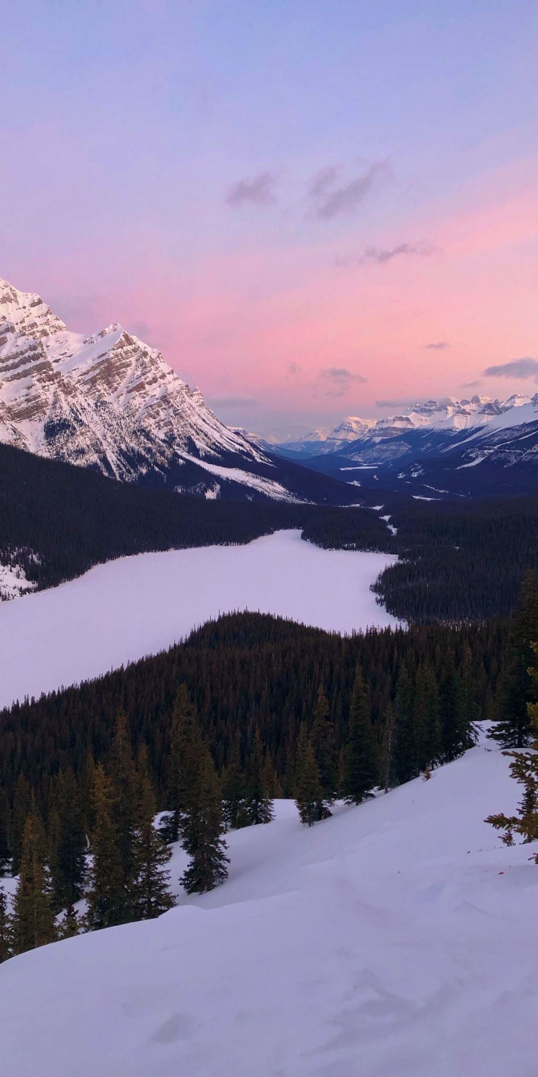 Lake Sunset Mountains Forest Canada Wallpaper Iphone