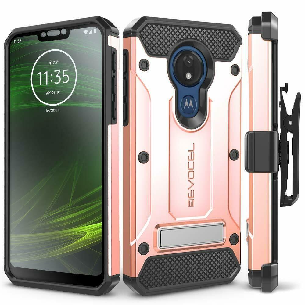Motorola Moto G7 Power Case Rugged Premium W Screen Protector Clip Kickstand Evocel Kickstand Motorola Screen Protector