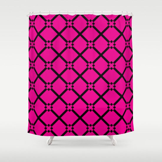Hot Pink and Black Shower Curtain