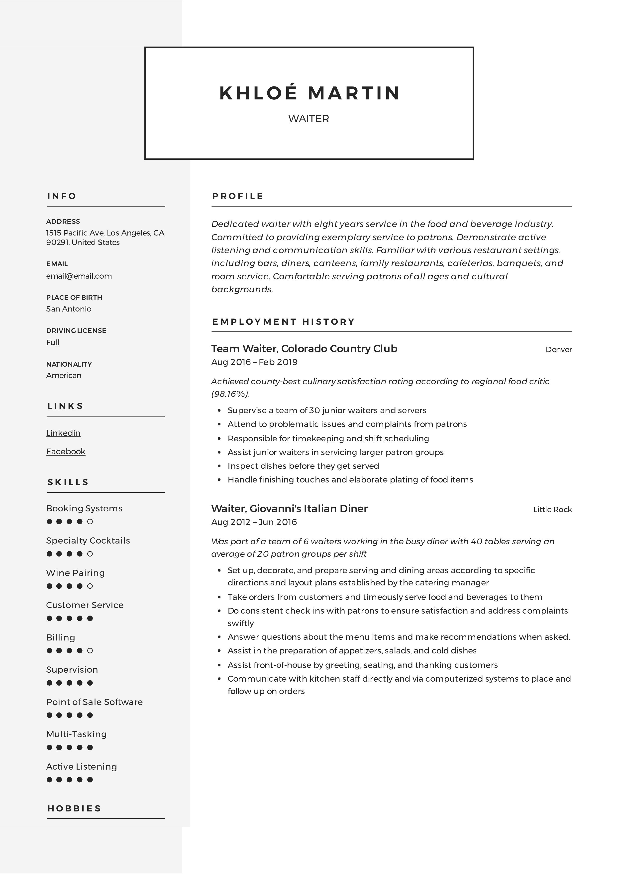 Waiter Resume & Writing Guide in 2020 Guided writing