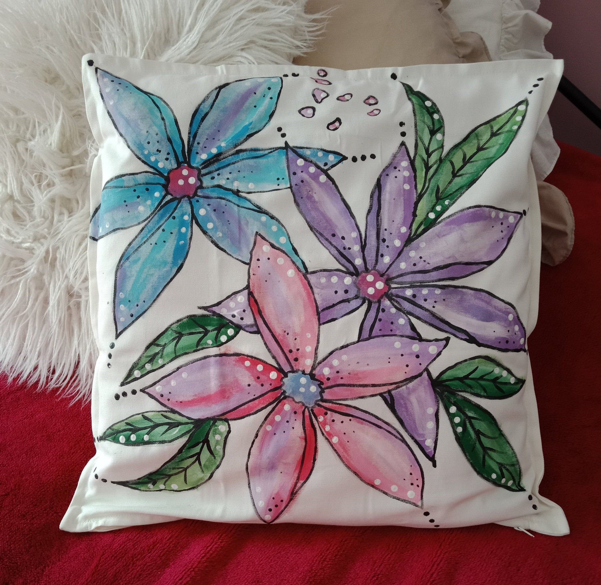 50cm x 50cm Throw Pillow Cases Cherry Blossoms On Turquoise Cotton Sofa /& Bed Home Decor Design 20 x 20inch Cushion Covers