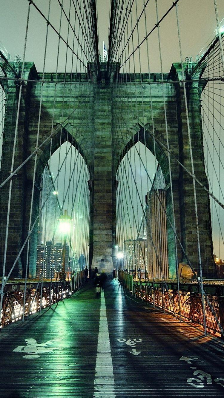 Brooklyn Bridge Nightscape iPhone 6 Wallpaper