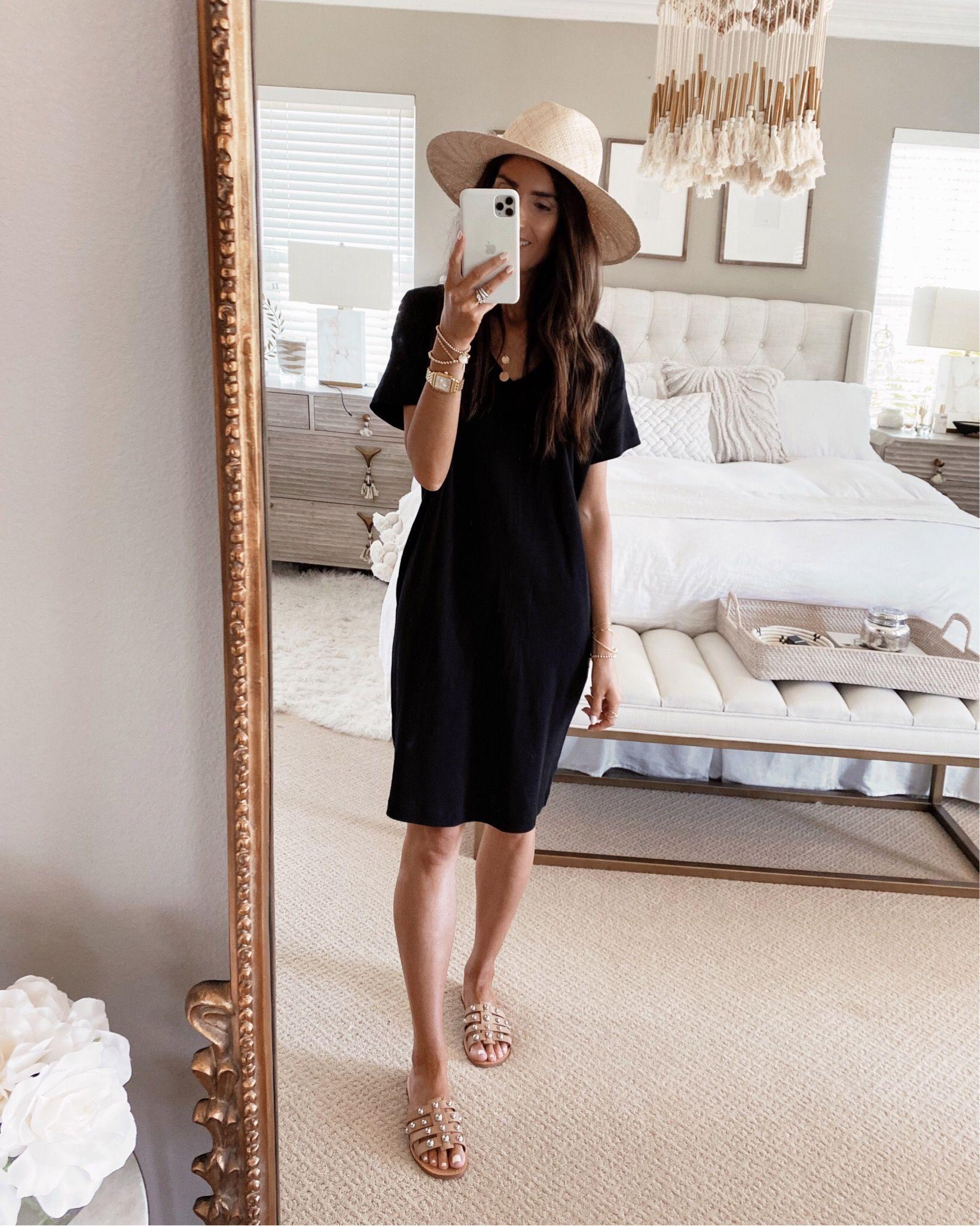 Black Day Dress Summer Black Dress Black Dresses Casual Black Dress Accessories [ 2049 x 1639 Pixel ]