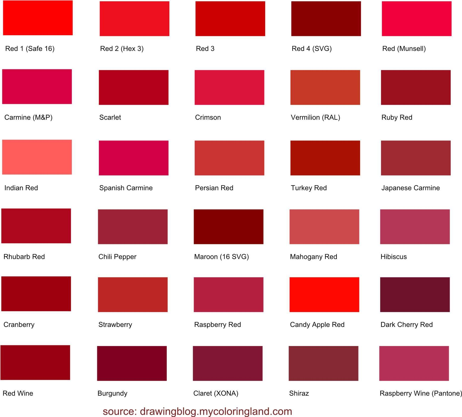 Longest List Of Diffe Shades Red Color All Are Presented With Names And Hex Code Values