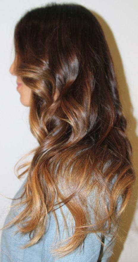 Brunette Auburn Haircool Chestnut Ombre Hair With Caramel Tips And