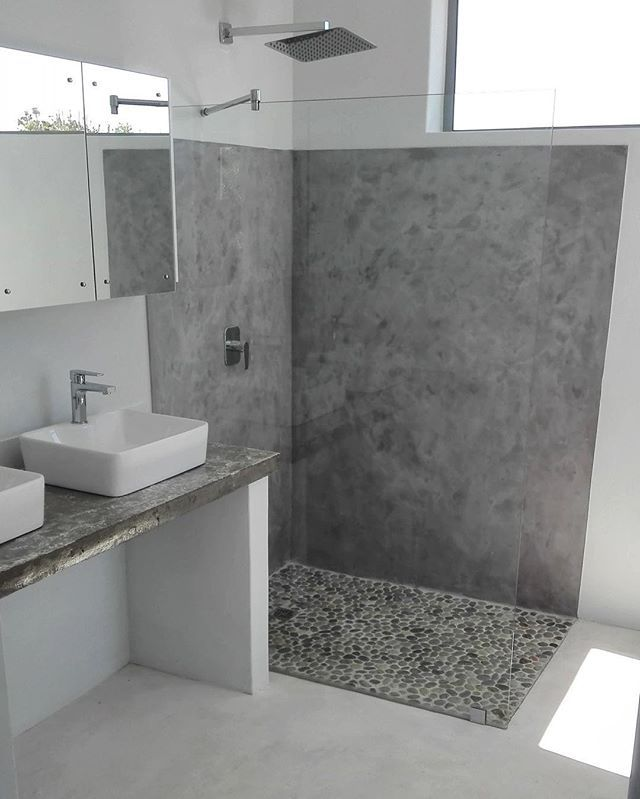 Fresh Bathroom Interior Created With Cemcrete Satincrete Dolphin Grey On The Shower Wall And Col Bathroom Interior Trendy Bathroom Tiles Small Bathroom Remodel