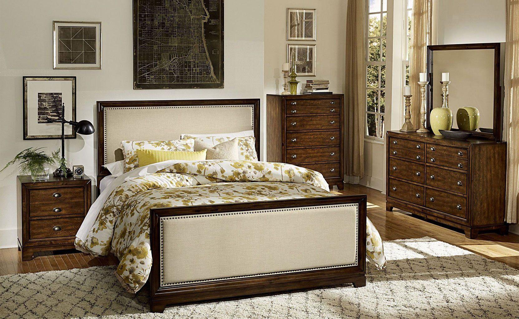 Bernal Heights Panel Bedroom Set Upholstered Headboards Bedroom Nailhead Trim Bed Fabric Headboard Bedroom