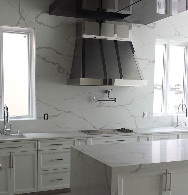 Waterfall Backsplash: Beautiful Kitchen Countertop Installed @allstiles