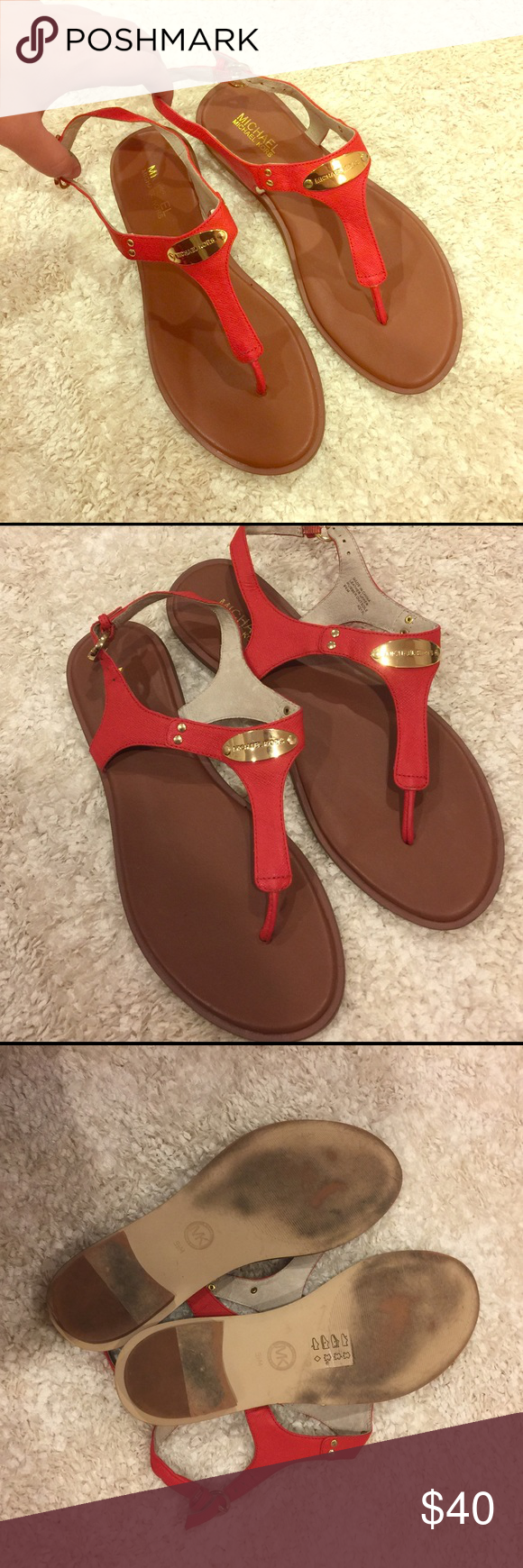 Michael Kors Leather Saffiano Sandals Authentic MK sandals with gold plate logo! They are a deep tangerine leather and are size 10. Exterior and interior in good condition, bottoms have marks in picture but overall great condition and stunning 💗 note the straps fall to side for some reason when off(look in picture), BUT are totally fine and have no problems when you strap on your foot 😊 Michael Kors Shoes Sandals