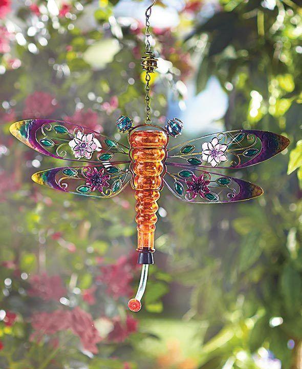 Metal Glass Dragonfly Hummingbird Feeder Summer Yard Hanging Outdoor Decor Unbranded