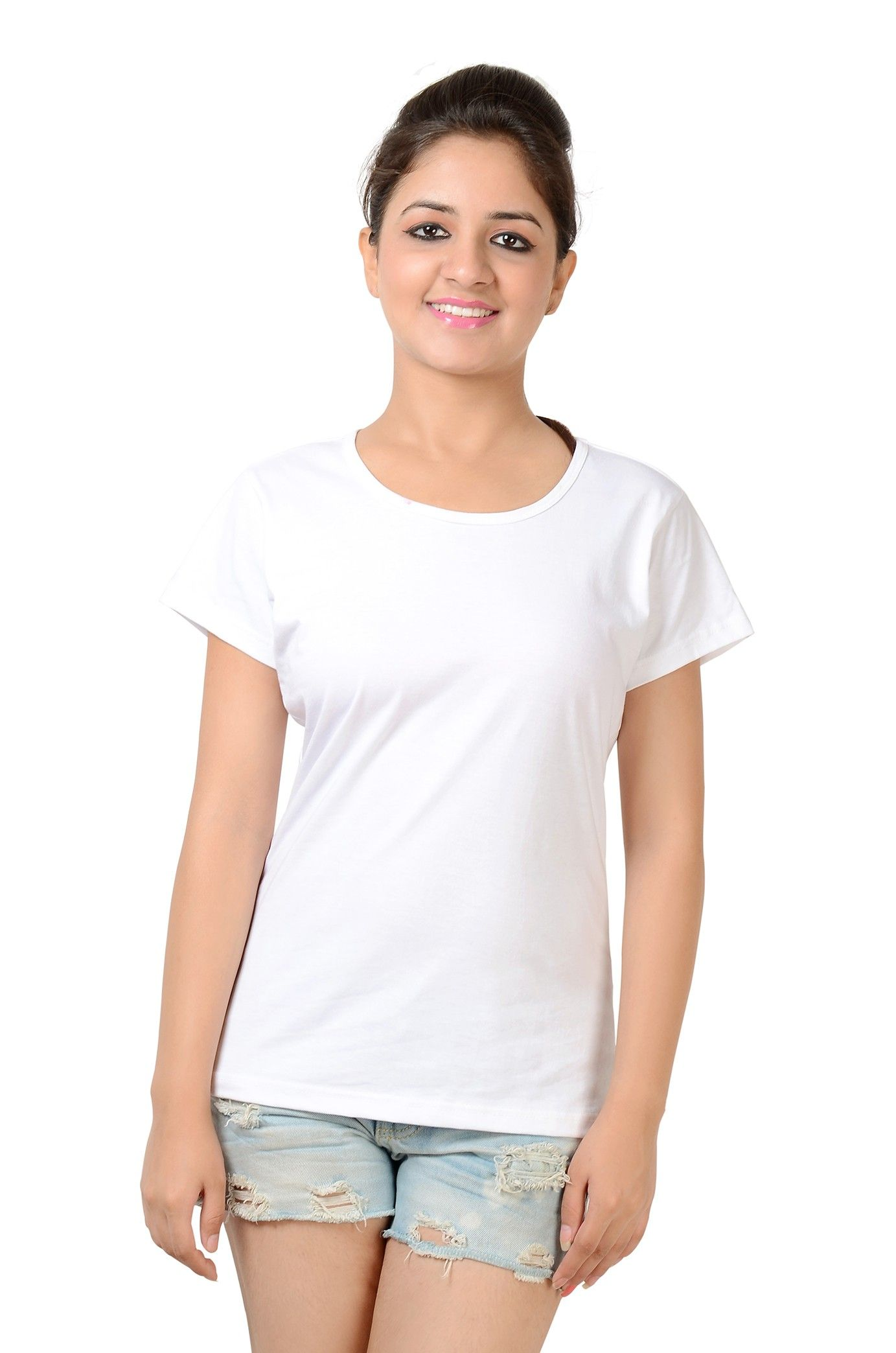 Women's White Round Neck T-Shirt Half Sleeve | routine remedies ...