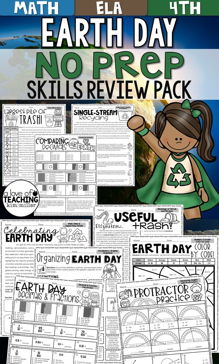 Earth Day Activities NO PREP Packet Math Homeschool and Activities