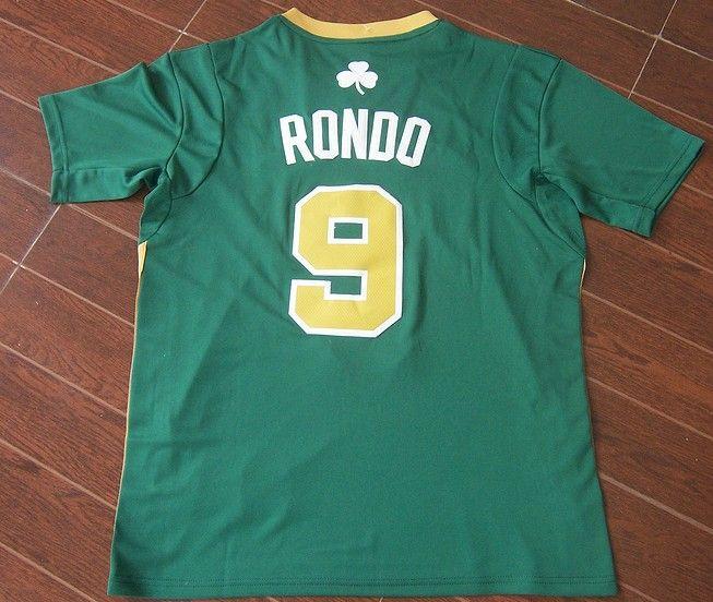 5aaf8efbd Adidas NBA Boston Celtics 9 Rajon Rondo New Revolution 30 Swingman Green  Golden Number Jerseys with Sleeve