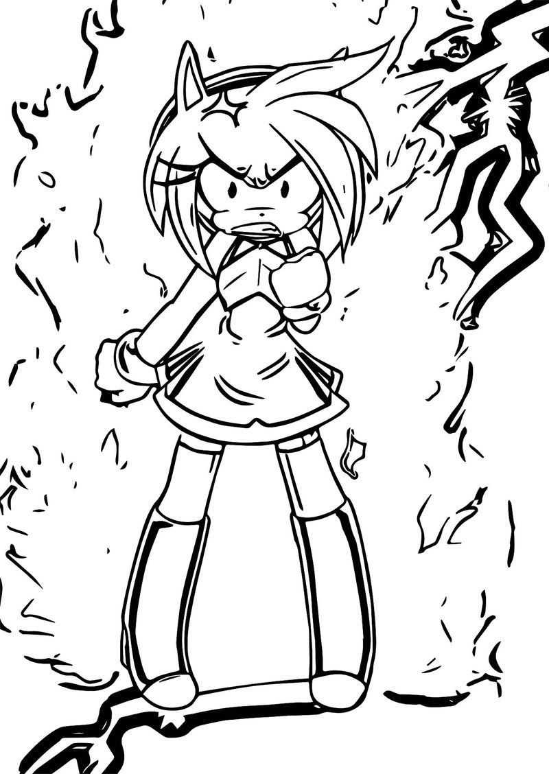 Amy Rose Angry Shock Coloring Page Amy Rose Coloring Pages Cartoon Coloring Pages