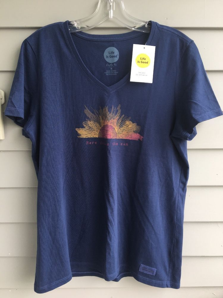 6c8314de998 Life Is Good Crusher Tee Classic Fit Here Comes The Sun In Blue Size ...