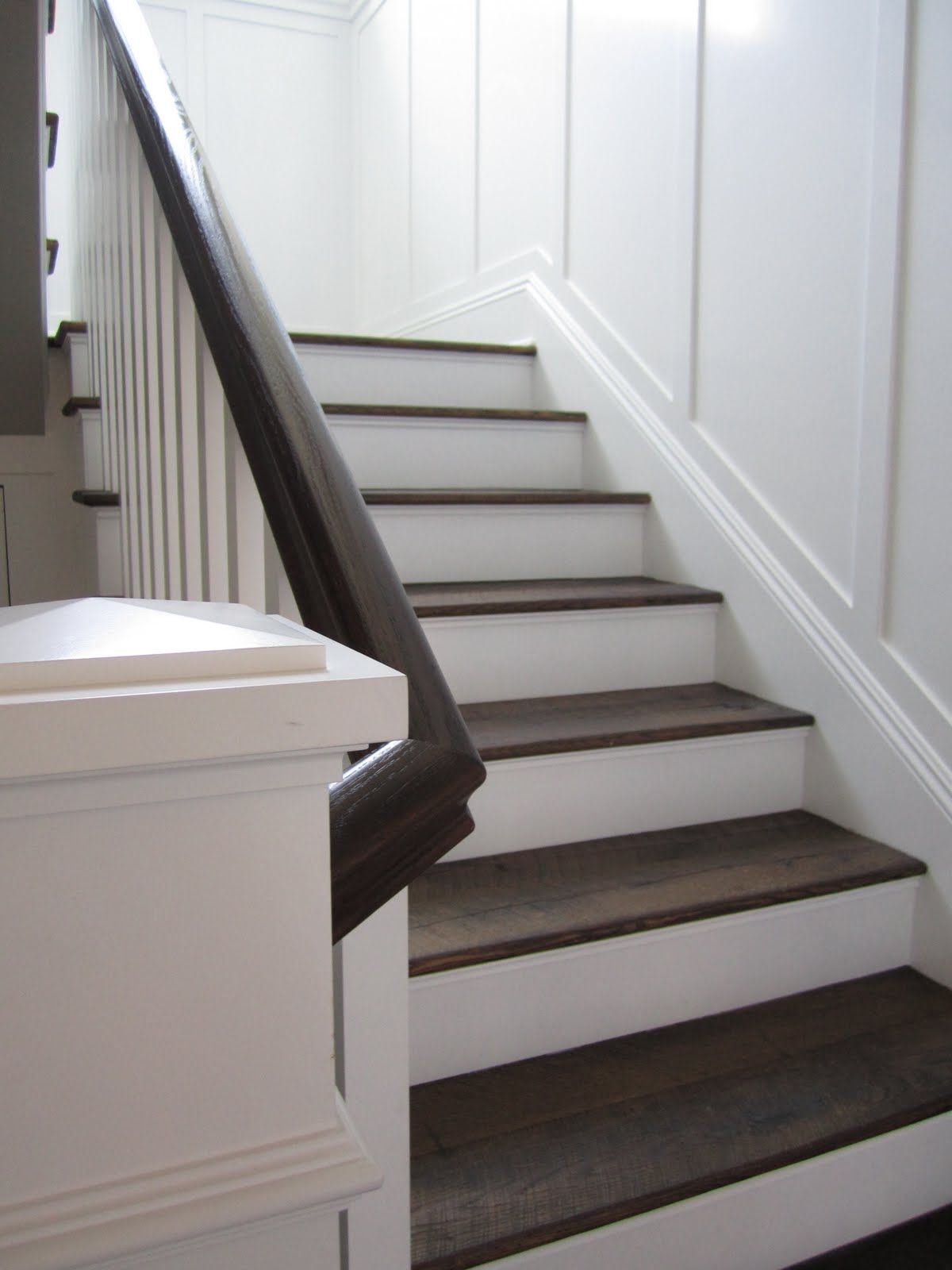 dark basement stairs. Add A Contrasting Runner To Our Stairs + Paint The Bannister Dark. Dark Basement E