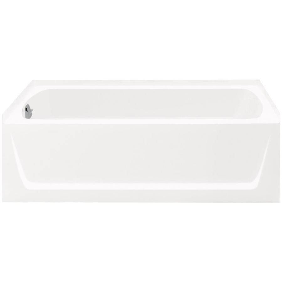 Hallway furniture b&m  Sterling Ensemble White Vikrell Rectangular Alcove Bathtub with Left