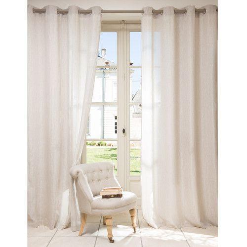 Cortina con ojales en algod n y lino beige 140x250 habitaciones pinterest cortinas - Cortinas lino beige ...